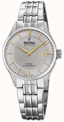 Festina | fabrication suisse pour femmes | bracelet en acier inoxydable | cadran argenté F20006/2