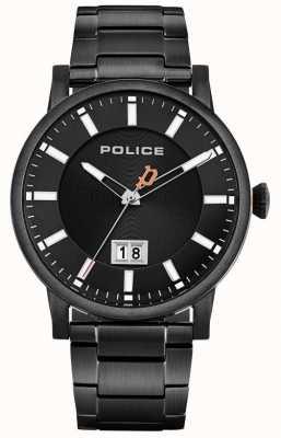 Police | collin des hommes | bracelet en acier inoxydable noir | cadran noir 15404JSB/02M