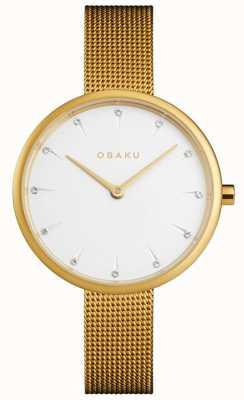 Obaku | notat d'or des femmes | bracelet en maille d'or | cadran blanc | V223LXGIMG
