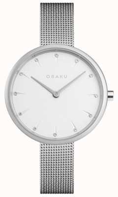 Obaku | notat acier femmes | bracelet en maille d'argent | cadran blanc | V233LXCIMC