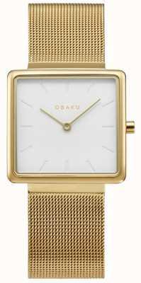 Obaku | kvadrat femme doré | bracelet en maille d'or | cadran blanc | V236LXGIMG
