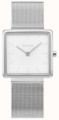 Obaku | acier kvadrat pour femmes | bracelet en maille d'argent | cadran blanc V236LXCIMC