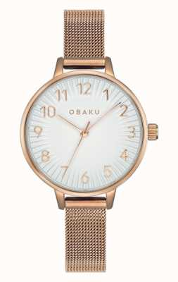 Obaku | syren des femmes rose | bracelet en maille d'or rose | cadran blanc V237LXVIMV