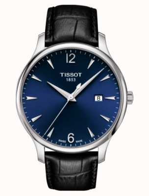 Tissot | tradition des hommes | bracelet en cuir noir | cadran bleu | T0636101604700