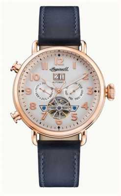 Ingersoll | la muse automatique | bracelet en cuir bleu marine | cadran blanc I09501