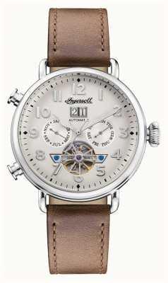 Ingersoll | la muse automatique | bracelet en cuir marron | cadran blanc I09502