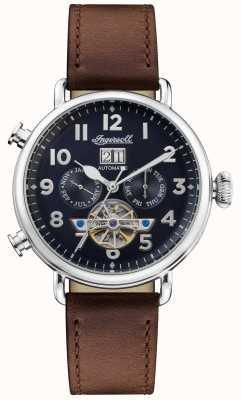 Ingersoll | la muse automatique | bracelet en cuir marron | cadran bleu | I09503