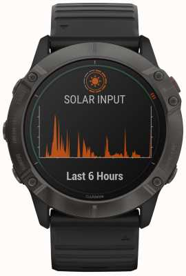 Garmin Fenix 6x titane solaire pro | dlc gris carbone | bracelet noir 010-02157-21
