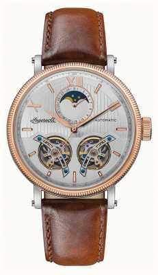 Ingersoll | le hollywood automatique | bracelet en cuir marron | cadran argenté I09602