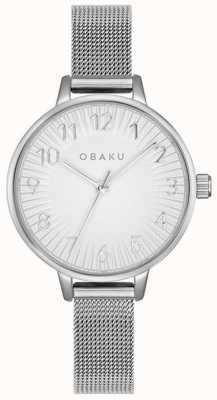 Obaku | acier syren des femmes | bracelet en maille d'argent | cadran argenté | V237LXCIMC