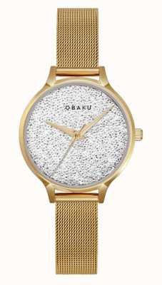Obaku | st jerner gold femmes | bracelet en maille d'or | cadran en cristal V238LXGWMG