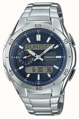 Casio Cadran bleu Wave Ceptor pour homme en acier inoxydable WVA-M650D-2AER
