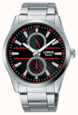 Lorus Cadran multi quartz homme | bracelet en acier inoxydable | noir R3A57AX9