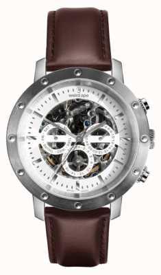 Weird Ape Icarus 3 cadrans | cadran blanc | bracelet en cuir marron WA02-005741