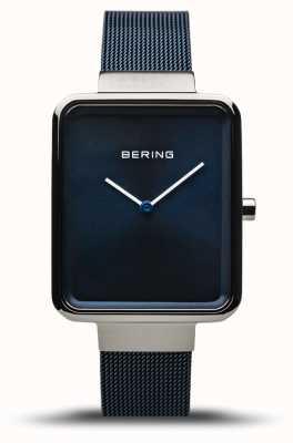 Bering Classique | argent poli / brossé | bracelet en filet bleu | 14528-307