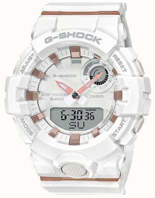 Casio   g-shock g-squad   bracelet en caoutchouc blanc   bluetooth intelligent   GMA-B800-7AER