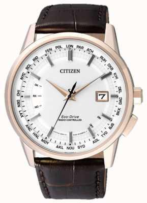 Citizen Monde perpétuel à | bracelet en cuir marron | cadran blanc | CB0153-21A