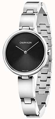 Calvin Klein   bracelet en acier inoxydable pour femmes   cadran noir   K9U23141