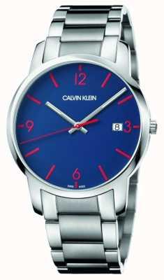 Calvin Klein La ville des hommes | bracelet en acier inoxydable | cadran bleu K2G2G147