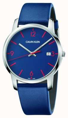 Calvin Klein | ville des hommes | bracelet en cuir bleu | cadran bleu | K2G2G1VX