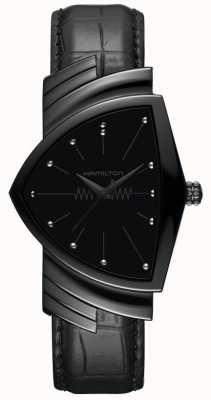 Hamilton Ventura | bracelet en cuir noir pour homme | cadran noir | H24401731
