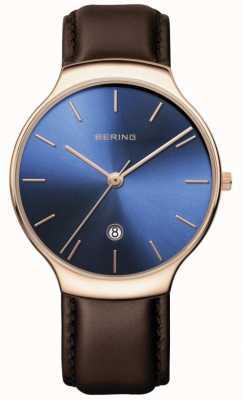 Bering | classique pour femmes | bracelet en cuir marron | cadran bleu | 13338-567