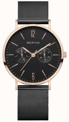 Bering Classique femme   bracelet en maille noire   cadran noir   14236-163