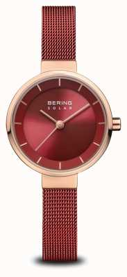 Bering | solaire pour femmes | or rose poli | maille rouge | cadran rouge | 14627-363