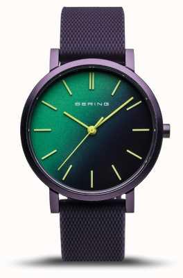 Bering | véritable aurore | bracelet en caoutchouc violet | cadran vert violet | 16934-999