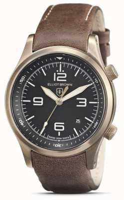 Elliot Brown Hommes | canford | cadran noir | bracelet en cuir marron 202-022-L22