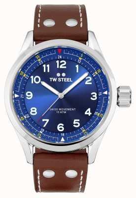 TW Steel | hommes | volante suisse | cadran bleu | bracelet en cuir marron | SVS102