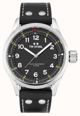 TW Steel | hommes | volante suisse | cadran noir | bracelet en cuir noir | SVS103