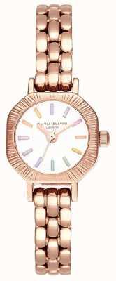 Olivia Burton | bracelet en or rose pâle arc-en-ciel | cadran blanc | OB16CC50