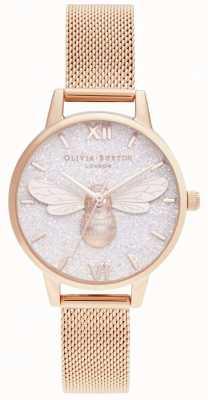 Olivia Burton | cadran pailleté abeille porte-bonheur et maille en or rose | OB16FB04