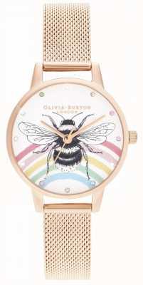 Olivia Burton Abeille arc-en-ciel illustrée, maille en or rose OB16WL90