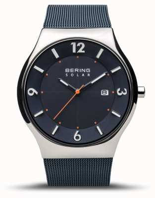 Bering | hommes | solaire mince | bleu marine | bracelet en maille | 14440-307