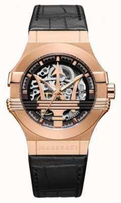 Maserati Potenza | bracelet en cuir noir | boîtier plaqué or rose pvd | R8821108030