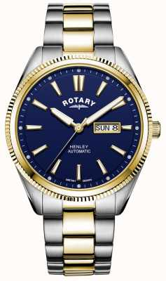 Rotary Henley pour hommes   bracelet en acier inoxydable bicolore   cadran bleu GB05381/05