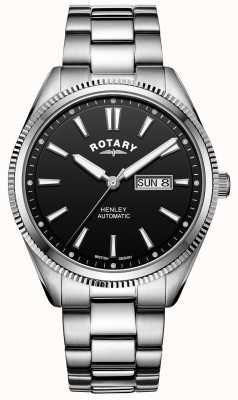 Rotary Henley pour hommes | bracelet en acier inoxydable | cadran noir | GB05380/04