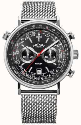Rotary Henley pour hommes | bracelet en maille d'acier | cadran noir | GB05235/04