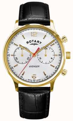 Rotary Vengeur pour hommes | bracelet en cuir noir | boîtier en or | cadran blanc GS05206/70