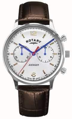 Rotary Vengeur des hommes | bracelet en cuir marron | cadran argenté GS05203/70