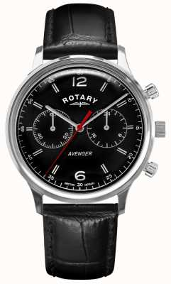 Rotary Vengeur des hommes | bracelet en cuir noir | cadran noir | GS05203/04