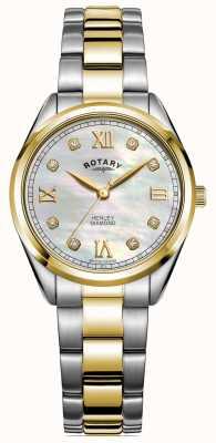 Rotary Henley femme | cadran serti de diamants | bracelet bicolore | LB05111/41/D
