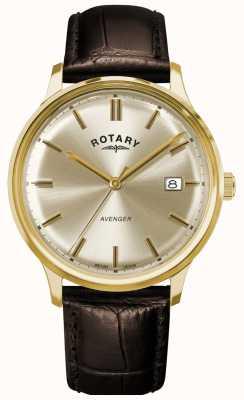 Rotary Vengeur des hommes | bracelet en cuir marron | cadran champagne GS05403/03