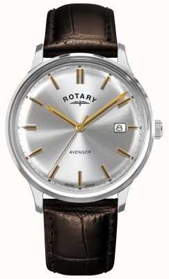 Rotary Vengeur des hommes | bracelet en cuir marron | cadran argenté | GS05400/06