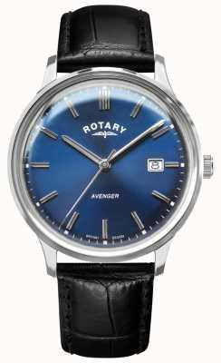 Rotary Vengeur pour hommes | bracelet en cuir noir | cadran bleu | GS05400/05
