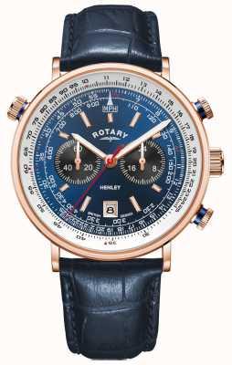 Rotary Henley pour hommes | boîtier pvd or rose | cuir bleu | cadran bleu GS05237/05