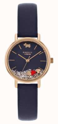 Radley | bracelet en cuir bleu marine pour femme | cadran flottant en pierre | RY2990