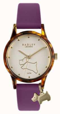 Radley | bracelet en silicone violet pour femmes | cadran blanc cassé RY2850